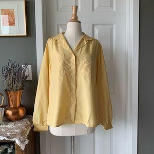 Vintage yellow raw silk balloon sleeve blouse 1729